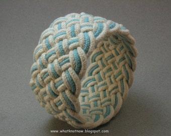 wide blue cotton rope bracelet slip on soft bangle style turks head knot nautical bracelet 2912