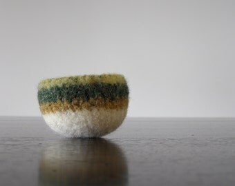 tiny felted dish - yellow, green, gold, and white wool bowl - air plant planter - ring dish - jewelry bowl -