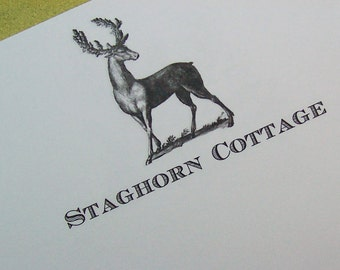 Stag Personalized Notepad Gift for Him Her Deer Elk Monogrammed Gift Stationery Note Pad Antlers Hunting Lodge Cabin Country Woodland Forest