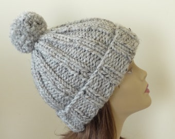 Chunky Knit Hat with Pompom and Rolled Brim Warm Wool Blend Winter Hat in Grey Marble - Ready to Ship - Direct Checkout