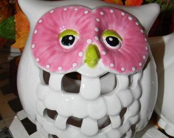Ceramic Owl Lantern  Candle Holder - white glazed wedding table decor Fruit Lime Green  Fuchsia Pink