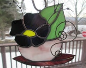 Stained Glass Purple flower in a tea cup
