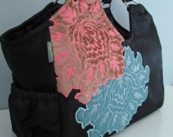 SALE - Large Shoulder Handbag  - classic black large purse with applique embellishment