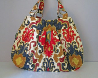 Handmade Large Shoulder Bag, Pleated Purse, Ikat Shoulder Bag, Diaper Bag Tote, Purse Diaper Bag, Brown Shoulder Bag, Red Handbag