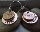 Couple set of Lucky Us Keychains, Wedding Gift, Partners Gift, I love you more keychains, Anniversary gift, Wedding Gift, Couples gift