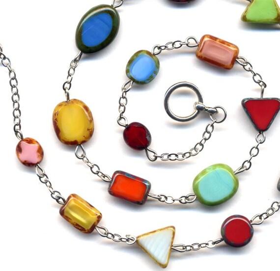 Multicolor Multi shape  Necklace With Unique Czech Beads, OOAK Mod Necklace, Handmade Jewelry by AnnaArt72