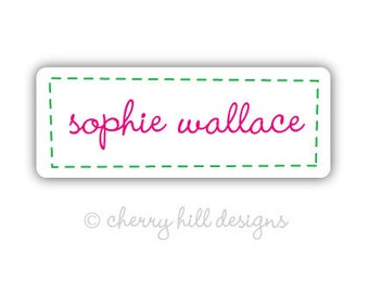 STITCHED-IN PINK Iron-on clothing and fabric labels - set of 42 (smallest set) - several template options