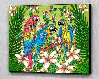 Parrot Paradise Wood Wall Panel, Wall Art