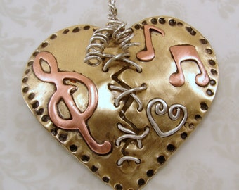 Sterling Silver, Red Brass, and Copper Broken Mended Heart Pendant Necklace - Mixed Metals