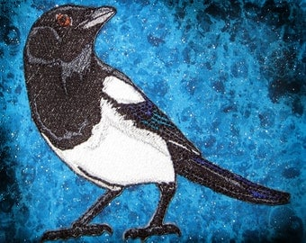 Black Billed Magpie Bird Iron on Patch 100% embroidery
