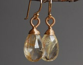 Wire Wrapped Rutilated Quartz Solitaire Earrings in Gold Fill, Simple, Classic