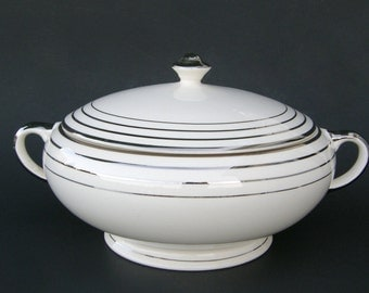 Atomic Art Deco Tureen by Salem China, Round Saphire Shape, White Ceramic Zephyr Platinum Pattern - Vintage Wedding China