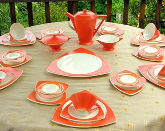 Atomic Art Deco Dinnerware for 6, 8 or 12: Salem China in Mandarin Orange Streamline / Tricorne, Grade B, Vintage Wedding China