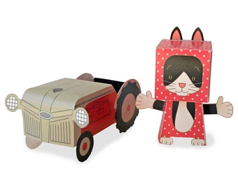 Paper Toy - Cat and Tractor play set - Instant Download