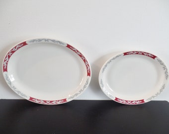 Vintage Mid Century Syracuse China Two Oval Red & Grey Serving Platters in Embassy Pattern - Rare Morwel Shape