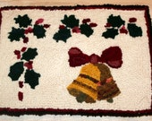 Bells and Holly Hooked Rug