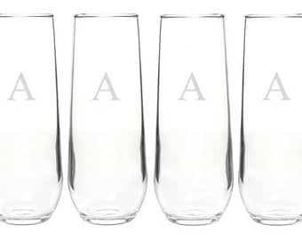 Custom Monogrammed Glass Set - Choose Your Style of Glassware