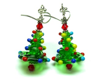 Christmas Tree Earrings Made to Order Christmas Earrings Lampwork Earrings Holiday Earrings Artisan Earrings Christmas Jewelry