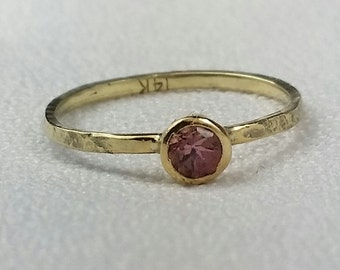 Pink Topaz SOLID 14k gold solitaire ring, promise ring, stacker ring, stackable ring, Size 5.5, Free US shipping
