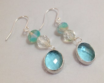 Teal Blue Glass Earrings - Faceted Glass Drops on Silver-Filled Hooks (E-492)