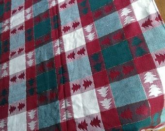Rustic Tablecloth Red Green Table cover Plaid tablecloth woodland tablecloth square table cloth REVERSIBLE TABLE CLOTH