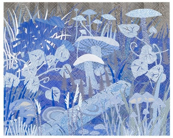 """Blue Forest Floor, giclee print based on a collage made with discarded envelopes 11""""x14"""""""