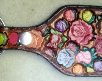 Leather Rose Garden Key Fob with Brown Border Made in GA USA