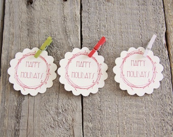 Happy Holidays Handmade Paper Tags in Red, Gift Tags, Christmas Tags, Mini Clothes Pins