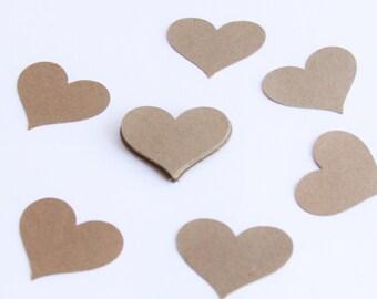 Handmade Paper Heart, Kraft Hearts, Heart Confetti