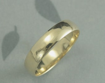 10K Gold Wedding Band--Solid Gold Wedding Ring--5mm Plain Jane Half Round Band--Men's Gold Band--Men's Wedding Band