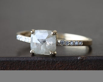 Natural White Rose Cut Diamond Ring with Pave Band