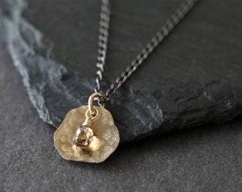 Natural Champagne  Diamond Petal Necklace - as seen on Rachel Bilson