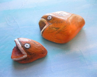 Painted Stones of Fish, Set of Two, Rock Art, Fish, Painted Stones, Hand Painted Rock Art, Beach Decor,  in Orange by gardenstones on Etsy