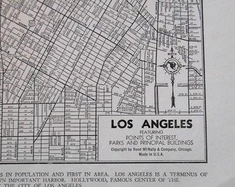 Los Angeles Street Map, Vintage 1944 City map of LA