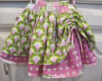 Girls size 6 Double Layer Skirt With Drawstring Gathered Front