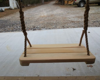Adult Swings, Large Cypress Wood Tree Swing/ 24'' long x 12'' wide with 12 Feet of Rope Per Side Handcrafted Free Shipping