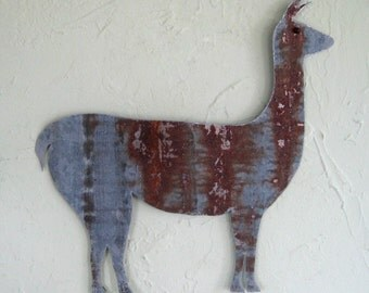 Art metal wall sculpture Llama Farm animal folk art Recycled metal