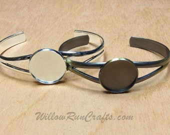 2 Bangle Cuff Bracelets with 20mm Glass Cabochons,  Silver and Antique Bronze  Bracelet Blanks, Bracelet Bezels