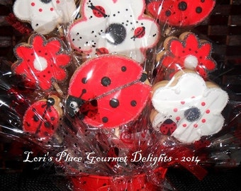 Daisy and Ladybug Cookie Bouquet - 9 Cookies