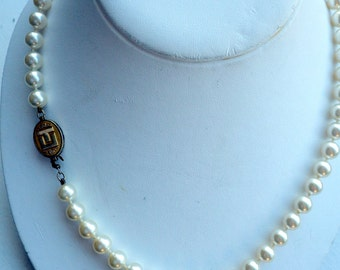 Faux Pearl Necklace - Sterling/Gold Clasp - Jostens - CT Monogram