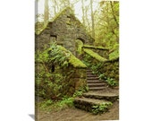 "Mossy House Nature Photography ""The Stone House"" Forest Home, Moss Green Art, Forest Art, Hiking Photo, Portland Oregon, Canvas Gallery Wrap"