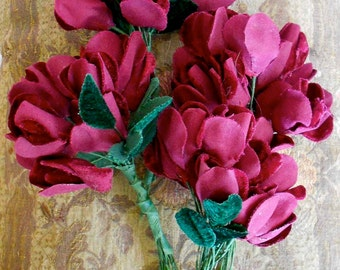 Fuschia Faux Velvet Flowers