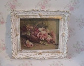 Dollhouse picture, tatty chic, miniature picture, gold trimmed picture, picture of roses,  Basket of Roses,. a dollhouse miniature