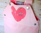 Velour Heart Overall in Pink Fox & Bunny