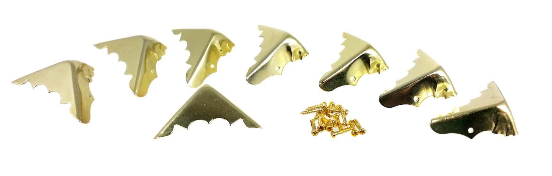 Decorative Box Corner Brass Plated : Pack brass plated box corners with screws