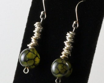 Sterling Silver Stack Earring with Green Glass Beads- Handmade by Elizabeth Arnold