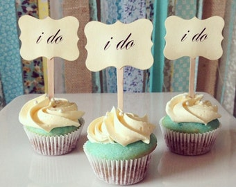 Wedding cupcake toppers, I do, Mini cupcake toppers