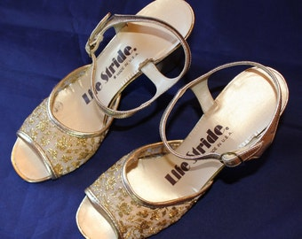 Vintage Women's Shoes by Life Stride, Golden Glittery Dress Shoes, Made in USA