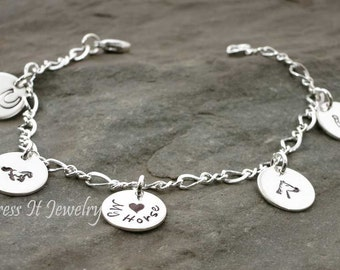 Horse Lovers Charm Bracelet Hand Stamped Five Disc Sterling Silver