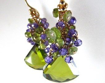 Olive Green Crystal, Vesuvianite and Purple Zirconia Gold Filled Cluster Earrings